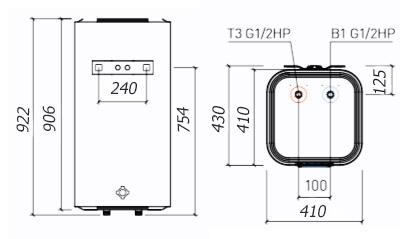 Размеры водонагревателя Thermex Smart 100V