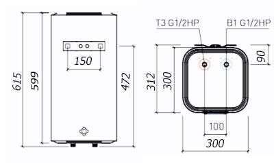Размеры водонагревателя Thermex Smart 30V