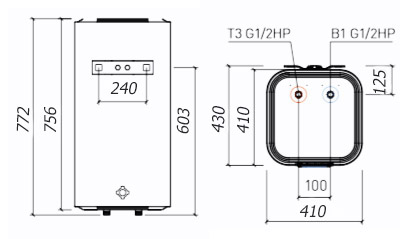Размеры водонагревателя Thermex Smart 80V
