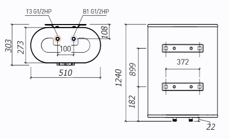 Размеры водонагревателя Thermex Ceramik 100V