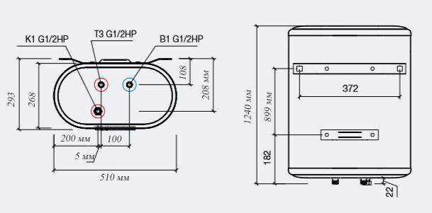 Размеры водонагревателя Thermex IF 100 V PRO Wi-Fi