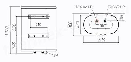 Размеры водонагревателя Thermex M-SMART MS 100V PRO