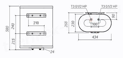 Размеры водонагревателя Thermex M-SMART MS 30V PRO