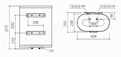 Размеры водонагревателя Thermex M-SMART MS 50V PRO