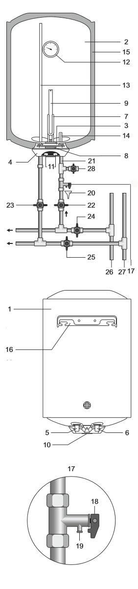 схема бойлера Термекс Praktik 100V