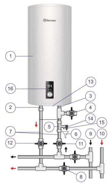 схема бойлера Термекс Соло 80V