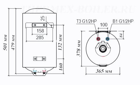Размеры водонагревателя Thermex TitaniumHeat 30V Slim