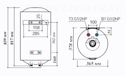 Размеры водонагревателя Thermex TitaniumHeat 60V Slim