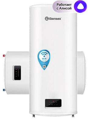 Плоский накопительный водонагреватель Thermex Optima 100 Wi-Fi объемом 100 литров с покрытием бака биостеклофарфор , мощность 1,2 / 2 кВт, универсальный монтаж (вертикальный / горизонтальный), с возможностью управления со смартфона