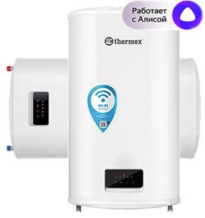 Плоский накопительный водонагреватель Thermex Optima 80 Wi-Fi объемом 80 литров с покрытием бака биостеклофарфор , мощность 1,2 / 2 кВт, универсальный монтаж (вертикальный / горизонтальный), с возможностью управления со смартфона